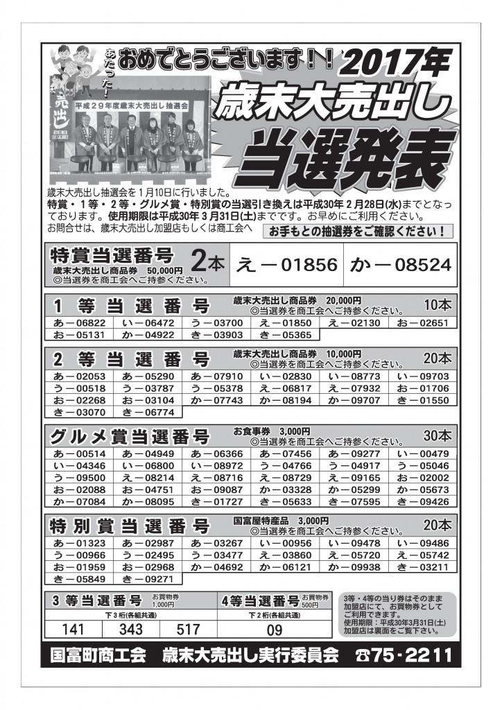 2017年歳末大売出し★当選発表★